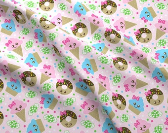 Kawaii Snacks Fabric - Kawaii Snacks By Tictactogs - Kawaii Donut and Ice Cream Snack Cotton Fabric By The Yard With Spoonflower