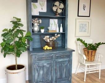 Blue Farmhouse Style Kitchen Hutch Cabinet   Antique Cupboard   Painted  Distressed Furniture   French Country Furniture   Vintage Furniture