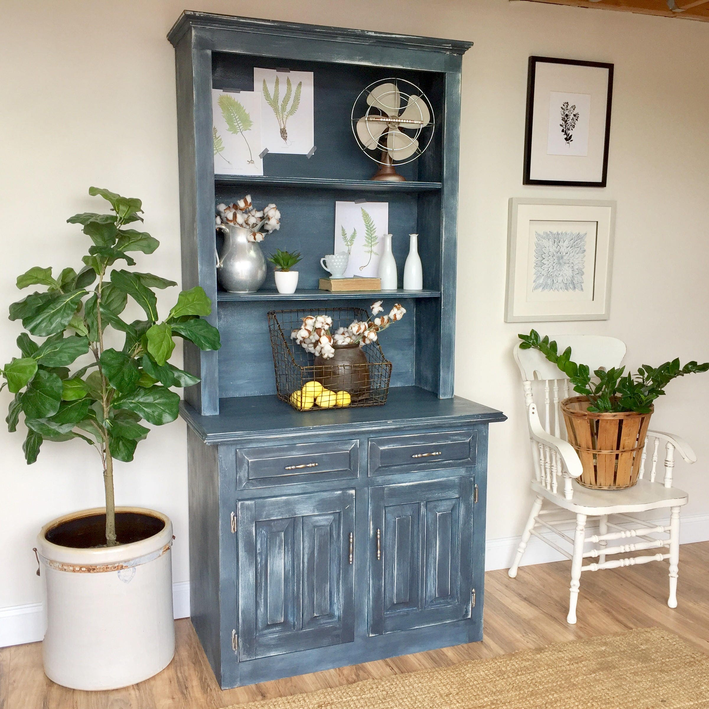 blue farmhouse style kitchen hutch cabinet antique