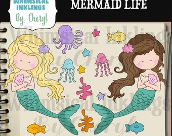 DIGITAL SCRAPBOOKING CLIPART - Mermaid Life