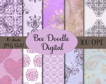 Digital Scrapbook Paper,  Printable Paper, Digital Paper, Digiscraps, Lavender, Purple,