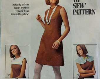 Vintage Simplicity 8060 Dress Pattern size 5 junior petite bust 31 inches 100% complete