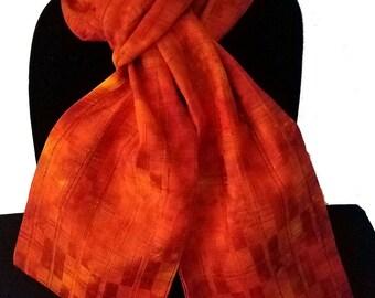 Kimono Scarf S8292 - orange raw silk