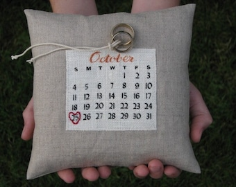 a custom calendar ring pillow... choose your date