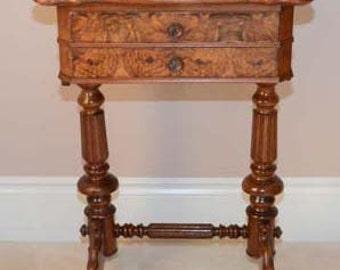 Antique Gaming Table, Walnut, Burl Top, Grunderzeit (Circa 1890), German