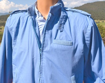 vintage 80s windbreaker SEARS members only jacket light blue Medium Small
