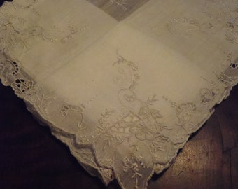 Vintage Handkerchief Sheer White Floral Embroidery unused approx 34 cm (13 1/2 inches) wedding engagement prom womens accessories