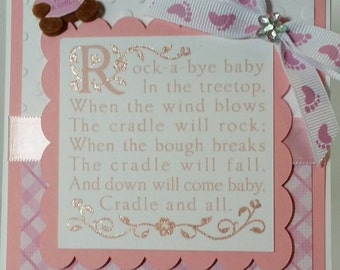 Handcrafted  Baby shower  (baby girl ) shower card