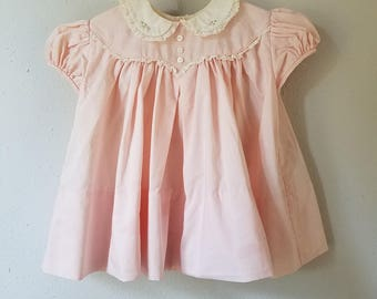 Vintage 50s Girls Pink Cotton Dress Peter Pan Collar by C.I. Castro - Size 12 months- New, never worn
