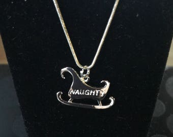 NAUGHTY NICE NECKLACE Vintage Sterling Silver Santa Sleigh