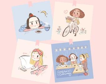 CoCo, Cilla, Daisy Art Prints (Set of 4)