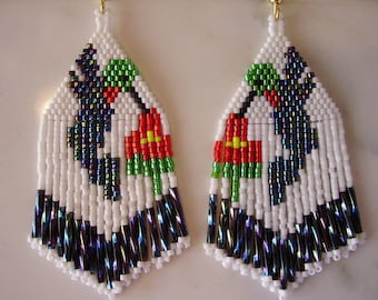Native American Style Beaded Hummingbird Earrings  Boho, Southwestern, Hippie Great Gift for Mother Light Weight
