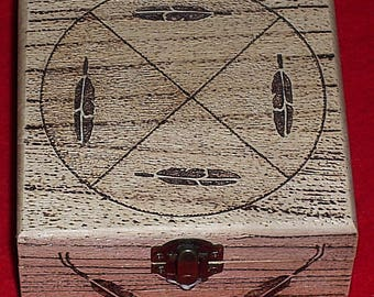 Native American Wooden Jewelry Box W/ Burned Medicine Wheel & Feathers