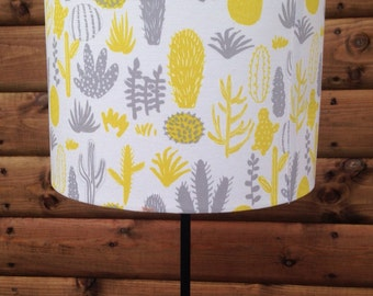 Drum Lamp shade- Japanese Fabric Covered-Grey and Yellow Succulents and Cacti.***one 15cm diameter shade left***