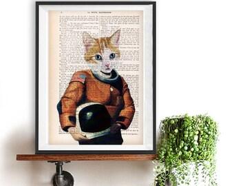 Cat astronaut, Art Print Poster, Space, Cat space suit ,DICTIONARY Print, Book Pages, Home Decor, DORM decor, Wall Art decor,funny cat print
