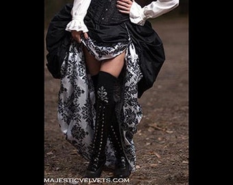 Ready to ship 2 SKIRTS. Double Bustle DAMASK White&Black.  Steampunk Victorian Taffeta Skirt Costume for Cosplay