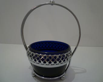 ENGLISH BOWL/STAND. Vintage Cobalt Blue Glass Bowl With Chrome Stand. Jam Bowl, Candies Etc.