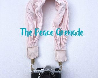 Pink Gold Polka Dot camera strap, scarf camera strap