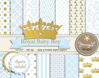 50% OFF Gold Crown Digital papers and Clipart, Royal Prince Boy Baby Shower, Birthday Blue Birth Announcement, Scrapbooking Paper Party Them