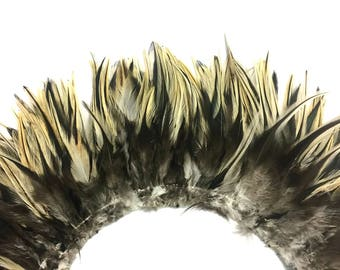 Rooster Feathers, 4 Inch Strip - Natural Golden Badger Strung Chinese Rooster Saddle Feathers : 4238