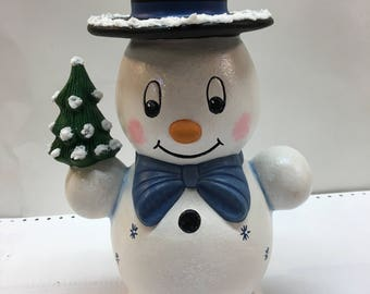 Large handmade ceramic Mr. Snowman with Blue bow