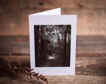 Black and White Trail Greeting Card | Trail, Path, Woodland, Through the Woods, Journey, Black & White, Wander