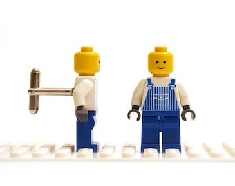 City, Town, Community worker cufflinks. Cufflinks made with LEGO(R) bricks.    Cuff links Wedding gift