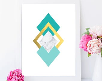 Teal and Marble Geometric Diamond shapes Foil Print