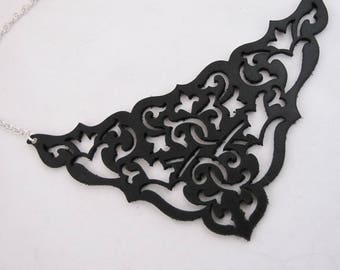 Black Statement Bib Necklace - Laser Cut Leather Lace and Silver Chain Floral Fretwork Collar  - GOTHIC GABLE