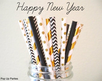 NEW!!! New Years Mixed Gold and Black Paper Straws (Pack of 25 or 50) New Years, Black & Gold Party