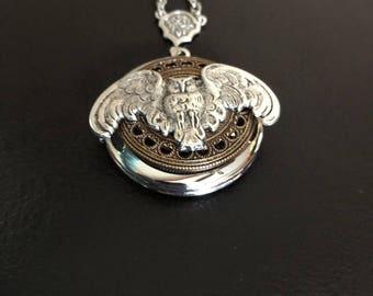 Owl locket, owl necklace, owl gift, steampunk necklace, gothic jewelry, owl jewelry, keepsake necklace