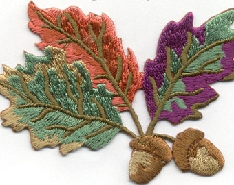 leaves leaf with acorn iron on patch applique