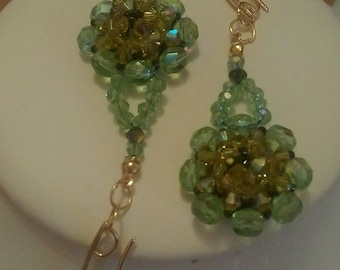 Felicity Earrings: Peridot AB/Olivine/Lime AB/Turmaline AB, Swarovski Crystal, Bohemian, glass crystal. Beads
