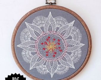 AUTUMN MANDALA - pdf embroidery pattern, embroidery hoop art,leaf mandala, winter vibes, meditative stitching, embroidered mandala