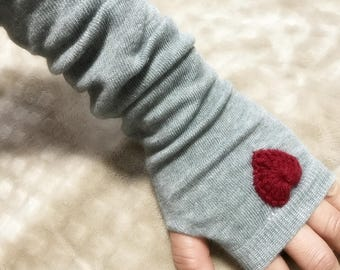 Arm Warmer Finger-less Gloves With Hearts, More Color Choose