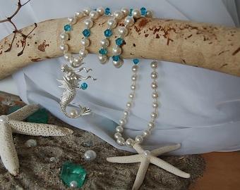 Frosted Silver Mermaid Pendant Necklace, Mermaid Necklace, Nautical Jewelry, Beach Jewelry, Summer Jewelry, Coastal Jewelry