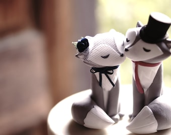 WOLF/Fox Wedding Cake Topper - With encircling tails - Warranty Protection Included