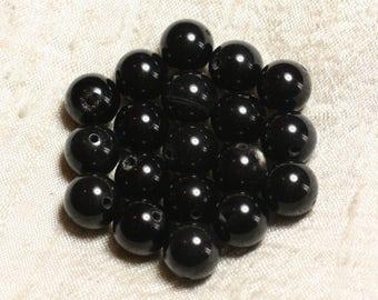 Wire 39cm 31pc env - stone beads - smoky black Obsidian balls 12 mm