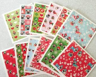 Dog Christmas card / christmas dog card / mini dog cards / dog cards / christmas pug cards / pug cards / pug card / dog christmas gift