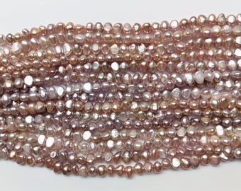 7-8mm AA+ Natural Lavender Baroque freshwater cultured pearls necklace, loose strands, price per strand