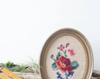 Frame Cross stitched flower