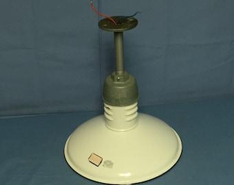 """Original 1930's MILLER Ivanhoe 12"""" White Porcelain Gas Station Pendant Light, Industrial Pendant Light, Porcelain Enamel Barn Light"""