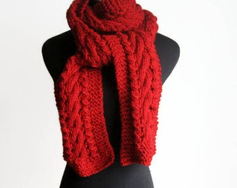 Hand Knit Scarf, Red Cable and Lace Scarf,The Stef Scarf,  Red Cable Knit Scarf, Winter Scarf, Fall Accessories, Red Scarf, Womens Scarf