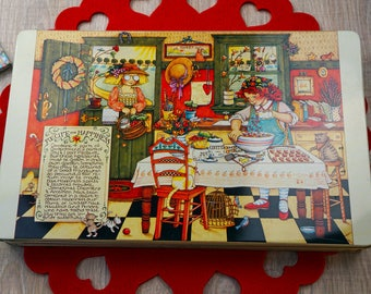 Vintage 1987 Mary Engelbreit  Recipe for Happiness Collectible Tin