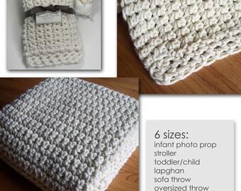 Crochet Blanket PATTERN / Chunky Bulky / Easy Beginner / Hometown / (6 sizes) / PDF 2450