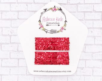 Red Glitter Snap Clips/Non shed glitter clips/Snap clips/Sparkly Hair Clips/Valentine's Day