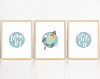 Dream Big Little One | GIRL  | Vintage Space | SET OF 3 Prints | Rocket Ship | Nursery Decor | Children's Room Print