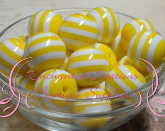 20mm Yellow and White Striped Beads Qty 10, Chunky Beads, Bubblegum Beads, Gumball Beads, Chunky Jewelry Beads, Acrylic Beads, Resin