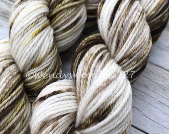 Hand Dyed Yarn, Speckled yarn, Gradient Yarn, Aran Weight, 181 yards