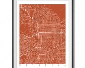 PASADENA Map Art Print / California Poster / Pasadena Wall Art Decor / Choose Size and Color